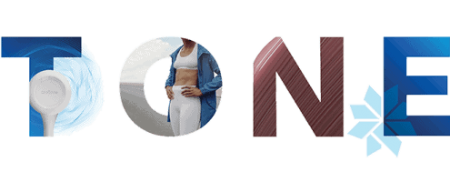 """graphic that reads """"tone"""" in blue and red with some letters revealing an image of a toned belly"""